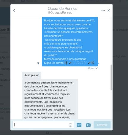 Twitter échange avec opéra